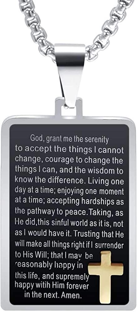 Jude Jewelers Stainless Steel Chrisitian Cross Bible Verse Serenity Prayer Religious Pendant Necklace