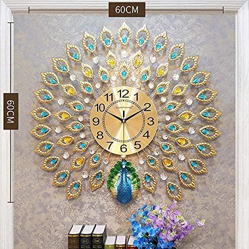 BaiJaC decoración de Pared, Estatua de Escultura, Pared Pared Pavo Real Moda hogar Sala de Estar gráficos de Pared Simple Personalidad Creativa muda Europeo Ambiente Reloj