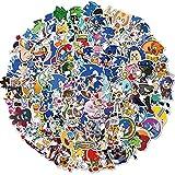 JZLMF Juego Anime Sonic Pegatinas Hedgehog Shadow Tails Amy Rose DIY Papelería Skateboard Laptop Guitar Sticker 100 unidades
