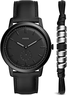 Fossil The Minimalist FS5500SET Leather Analog Casual Watch and Bracelet for Men