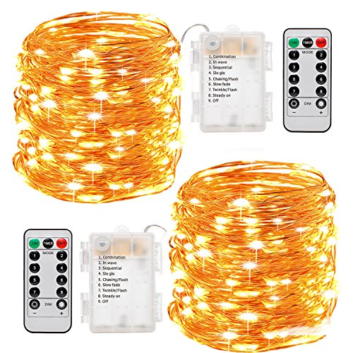 FairyDecor 2 Set String Lights Battery Operated with Remote, 8 Modes Warm White Starry Fairy Copper Wire Batteries Powered String Light Waterproof 50 LED for Home Decoration, Wedding, Party. (16.4ft)