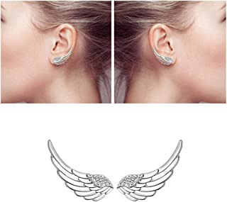 Ear Crawler, Mariafashion Cuff Earrings Sterling Silver Ear Climber Hypoallergenic Ear Wrap Angle Wings Diamond Zircon Stud Earrings