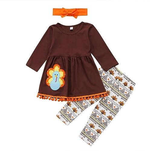 284619f0ea0 3Pcs Kids Toddler Baby Girls Turkey T-Shirt Top Dress+Pants+Headband  Thanksgiving