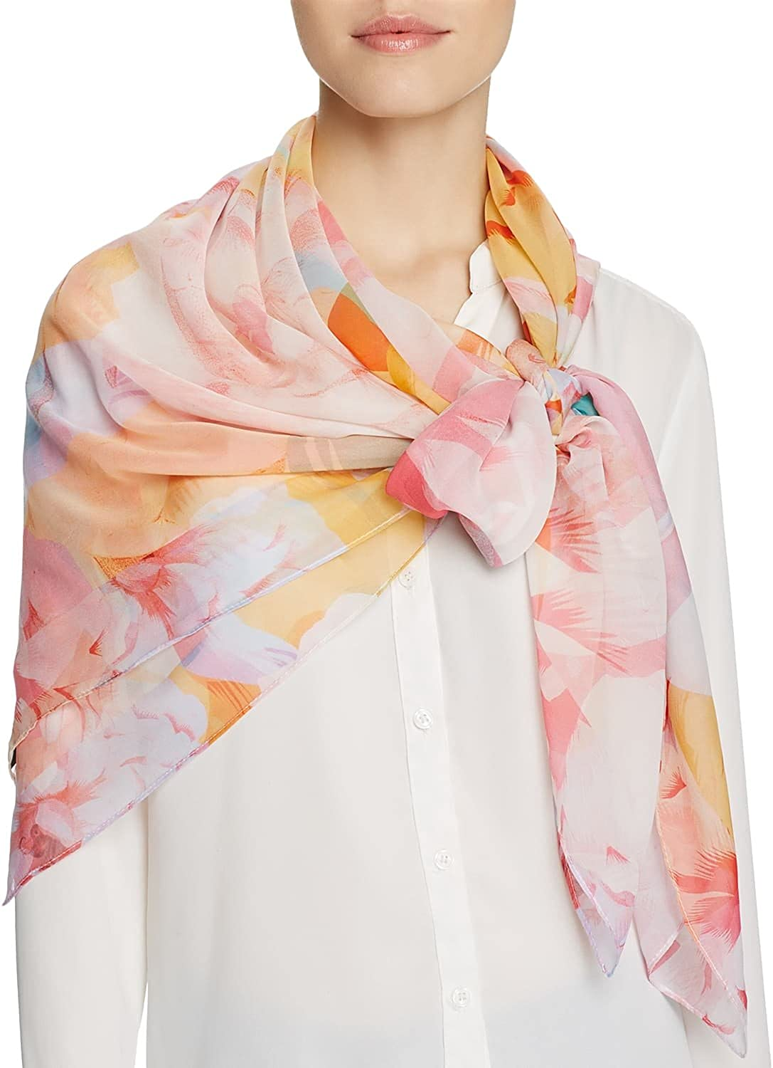 Echo Womens Cambon Floral Square Scarf One Size Multi
