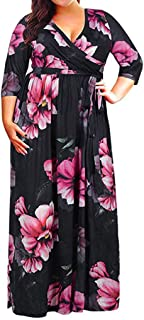 〓VigorY〓Women's O Neck Casual Plus Size Fit and Flare Midi Dress Maxi Dress Plus Size Long Sleeve Pleated Swing Dress