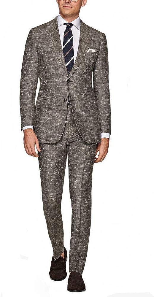 Michealboy Men's 2 Pieces Slim Fit Mens Suit Notched Lapel Tuxedos Groomman (Blazer+Pant)
