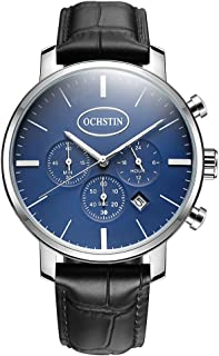 OCHSTIN Luxury Luminous Ultra Thin Quartz Men Casual Wristwatch Genuine Leather Water-Proof Watch Masculino Relogio + Box