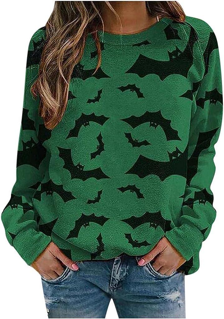 Halloween Sweatshirt for Women Casual Long Sleeve Crewneck Bat Pumpkin 3D Prints Pullover Tops Blouse