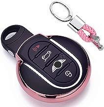 Rosado Funda de TPU Suave para Llave + Llavero para Coche BMW Mini Cooper F54 F55 F56 F57 F60 3/4-Buttons Smart Key