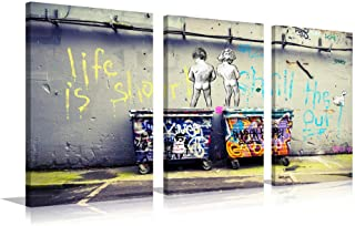 Graffiti Canvas Wall Art Painting Modern Banksy Colorful Figure Street Picture for Living Room Decoration (Colorful, M)