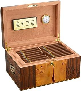Humidors cigarr cedarwood luftfuktare flerskikts cigarrlåda ihålig bricka utrustad med luftfuktare och termometer gåva (fä...