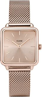 CLUSE LA TÉTRAGONE Mesh Full Rose Gold CL60013 Women's Watch 29mm Square Dial Stainless Steel Strap Minimalistic Design Casual Dress Japanese Quartz Precision