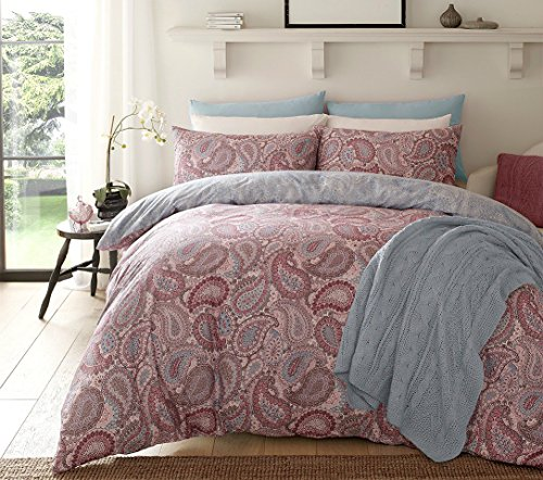 IK Trading Pieridae Paisley Purple Duvet Cover & Pillowcase Set Bedding Digital Print Quilt Case Bedding Bedroom Daybed (Double)