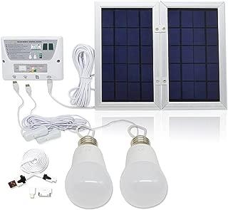 GVSHINE [6W Panel Foldable] Solar Mobile Light System, Solar Home DC System Kit, 3.7V Lithium Battery - 6W Foldable Panel Solar Home System Kit - Including 3 Cell Phone Charger - 2 LED Lights