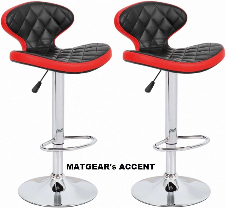 METGEAR Accent Adjustable, Swivel Set of 2 Bar Stools (Black Red)
