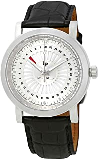 Men's 'Ruleta' Quartz Stainless Steel and Black Leather Casual Watch (Model: LP-40014-02S)