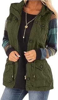 Women Lightweight Sleeveless Military Anorak Drawstring Jackets Vest