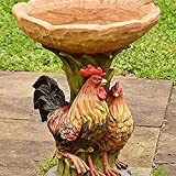 Bird Bath for Outdoor with Brown Pedestal Handmade Wild Bird Feeder Birdbath Bowls for Garden Polyresin Sunflower Bird Feeder Outdoor Garden Lawn Yard Decorations (Cock)