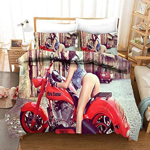 Gabapipa Ropa de Cama Doble Funda nórdica de Cama 90 Rojo Motocicleta 200 x 200 cm Mujer Sexy Juego de Cama Impresa 3 Piezas Antialérgico con Cremallera para Niños Adolescentes Y Adultos