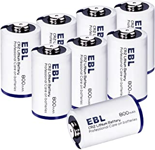 EBL CR2 Battery, CR2 Lithium 3V Batteries 800mAh Photo CR2 Batteries for Mini 25 Mini 50 Mini 50S Mini 55 Pivi MP-100 & SP-1- Silver, 8 Pack