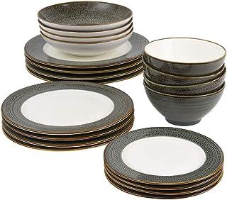 ProCook Napa - Vaisselle de Table en Porcelaine Blanche - 20 Pièces/Pour 4 Personnes - Petite Assiette, Grande Assiette, A...