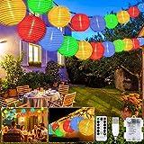 Guirnaldas Luces Farolillos, 8 modos 20 LED Iluminación de Exterior Farolillos, Impermeable Decoración Farolillos con Temporizador, USB/Alimentado por Batería, para Jardín, Patio, Boda, Fiesta