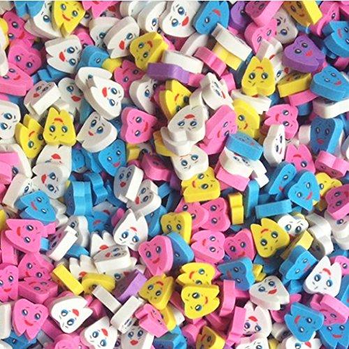 50 PCS/bolsa de goma en forma de diente borradores para niños niño Escuela regalo