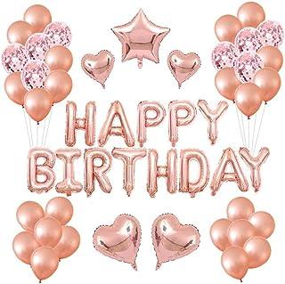 Tweal Decoración de cumpleaños Oro Rosa,40 Piezas Guirnalda Banner de Cumpleaño con Globos y Globos de Confeti y Globos de...