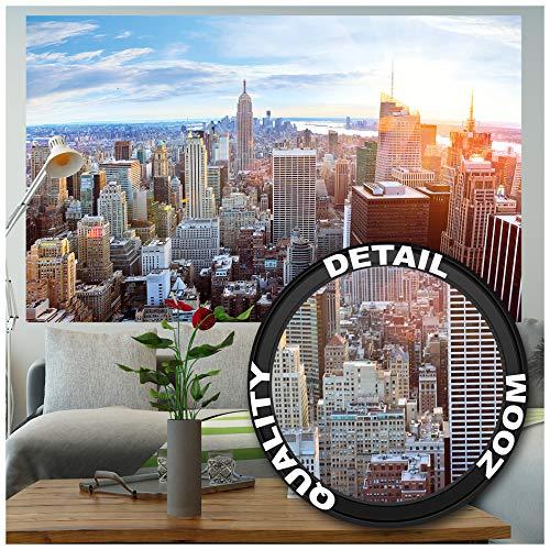 GREAT ART XXL Póster – Horizonte De Nueva York – Puesta De Sol Manhattan Skyline Americano De Big Apple Metropolís Ciudad Principal NYC Cartel De Pared Foto Y Decoración (140 X 100 Cm)