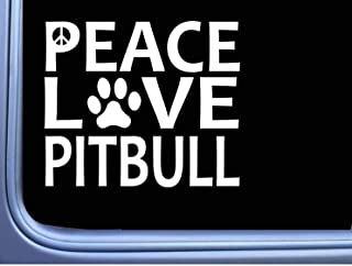 DKISEE Decal Sticker Pitbull Peace Love Dog Sticker Window Decal Laptop Vinyl Decal Window Wall Sticker Car Decal 5 Inch