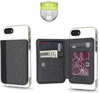 Cell Phone Wallet for Back of Phone, Stick On Wallet Credit Card ID Holder with RFID Protection Compatible with iPhone, Ga...