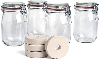 SOFTCOREFOOD DrahtbügelglasBeschwerungsstein - 4er Set - /Sauerkraut, Kimchi, Gemüse Fermentieren im 4er Pack