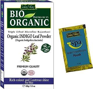 Indus Valley BIO Organic Indigo leaf powder (Indigofera Tinctoria) with Color Recipe Book and an Hair Eaze SPA free (100 Gm)