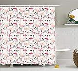 Nyngei Flamingo - Cortina de Ducha con diseño de Flamenco en Estilo Vintage, diseño de Amor y Animales románticos, Tela para decoración de baño con Ganchos, 180 x 180 cm, Color Beige y Rosa