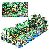 Myste Scena tropicale tropicale con accessori, 922 pezzi, fai da te, creativa, Jungle Botanical, con animali, piante, fiori e piastre di base, compatibile con Lego 21318
