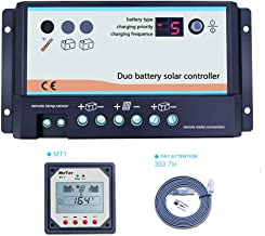 EPEVER 10A Dual Battery Solar Charge Controller, 12V 24V Auto for RVs, Boat, Caravans, Bus or Two Battery Solar System (DB-10A+MT1)