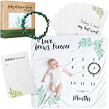Satori Native Premium Baby Monthly Milestone Blanket | 15 Custom Milestone Cards & Beautiful Wreath Frame | Personalized Photography Background Prop for Boy or Girl | Perfect Baby Shower Gift