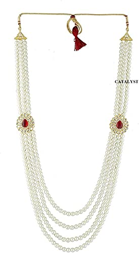 Catalyst White Pearl Necklace Jewellery for Groom | Dulha Moti Mala Haar for Men(CM7 WHT RD)
