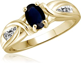 Jewelexcess 0.60 Carat T.G.W. Sapphire and White Diamond Accent 14kt Gold Over Silver Ring
