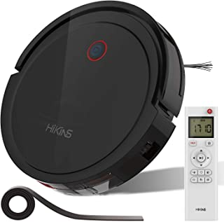 HiKiNS Robotic Vacuum Cleaner 1800Pa Powerful 4400MAH 120mins Long Lasting, Intelligent Algorithm Control Anti-Collision and Drop Sensor Protection Automatic Charging Robot Vacuum for All Floors