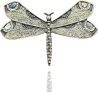Q&Q Fashion Retro Art Nouveau Victorian Dragonfly Simulated - Pearl Wing French Lapel Brooch Pin Badge