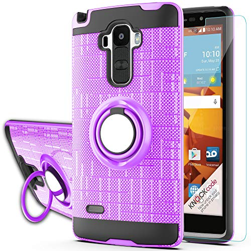 Ymhxcy for LG G4 Stylus Case,LG G Stylo Phone Case with HD Phone Screen Protector,(Not Fit LG G4) 360 Degree Rotating Ring & Bracket Dual Layer Resistant Back Cover for LS770 KC2-ZH Purple