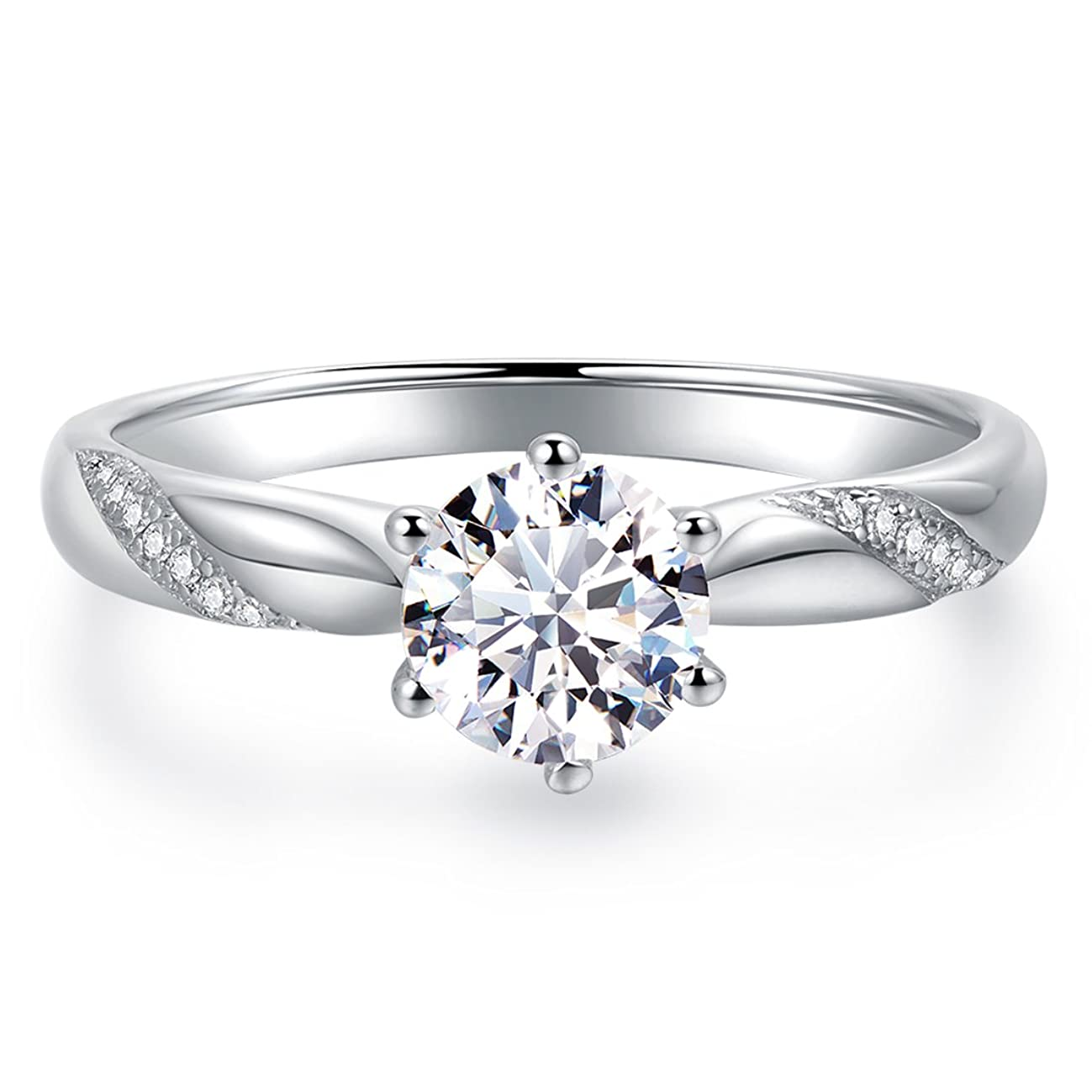 Stunning Flame Solitaire Engagement Ring Cubic Zirconia CZ in White Gold Plated Sterling Silver for Women   Excellent Cut, D Color, FL Clarity & Exquisite Polish