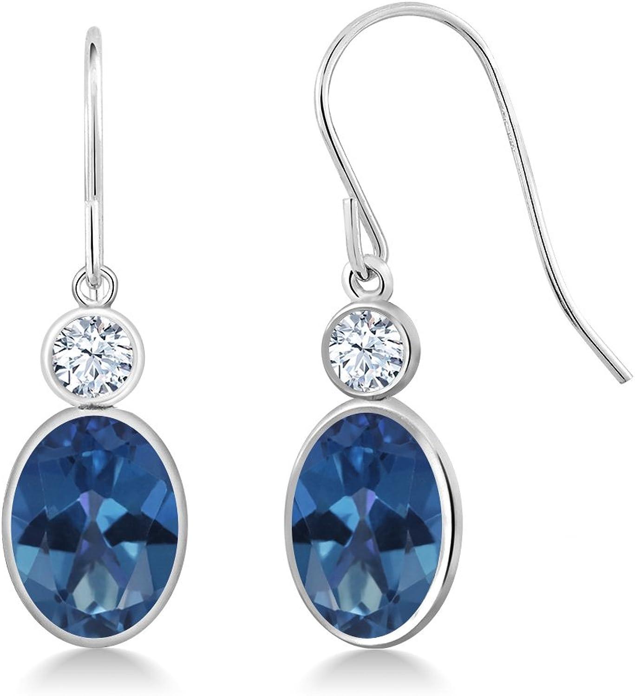 2.86 Ct Oval bluee Mystic Topaz White Created Sapphire 14K White gold Earrings