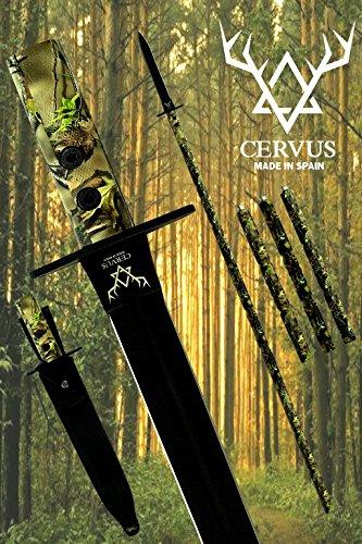 Cervus - Lanza de Caza, Tratamiento OP-Coated, Funda de Cuero 100% para Cuchillo y Funda, Acero MOVA-58. Diseñada y Fabricada en España. Camuflaje Realtree