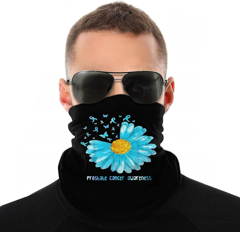 Prostate Cancer Light Blue Ribbon Neck Gaiter Face Cover Mask Men Women, Windproof Uv Sun Protection Balaclava Scarf,Fishing, Running & Hiking