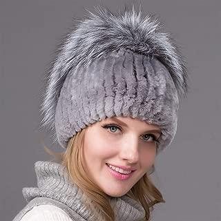 Guomao Women Winter Knitted Hat Rabbit Fur Grass Hat Autumn and Winter Rex Rabbit Hair Plus Black Fox Wool Knit Hat Ear Warm Hat (Color : Gray)