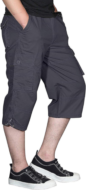 Ivnfout Overseas parallel import regular item Men's Long Shorts Elastic Below Knee Ranking TOP6 Capri Cargo
