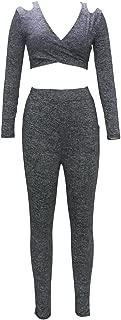 Women Long Sleeve V-Neck Off Shoulder Short Blouse Pants Two Pieces Suit