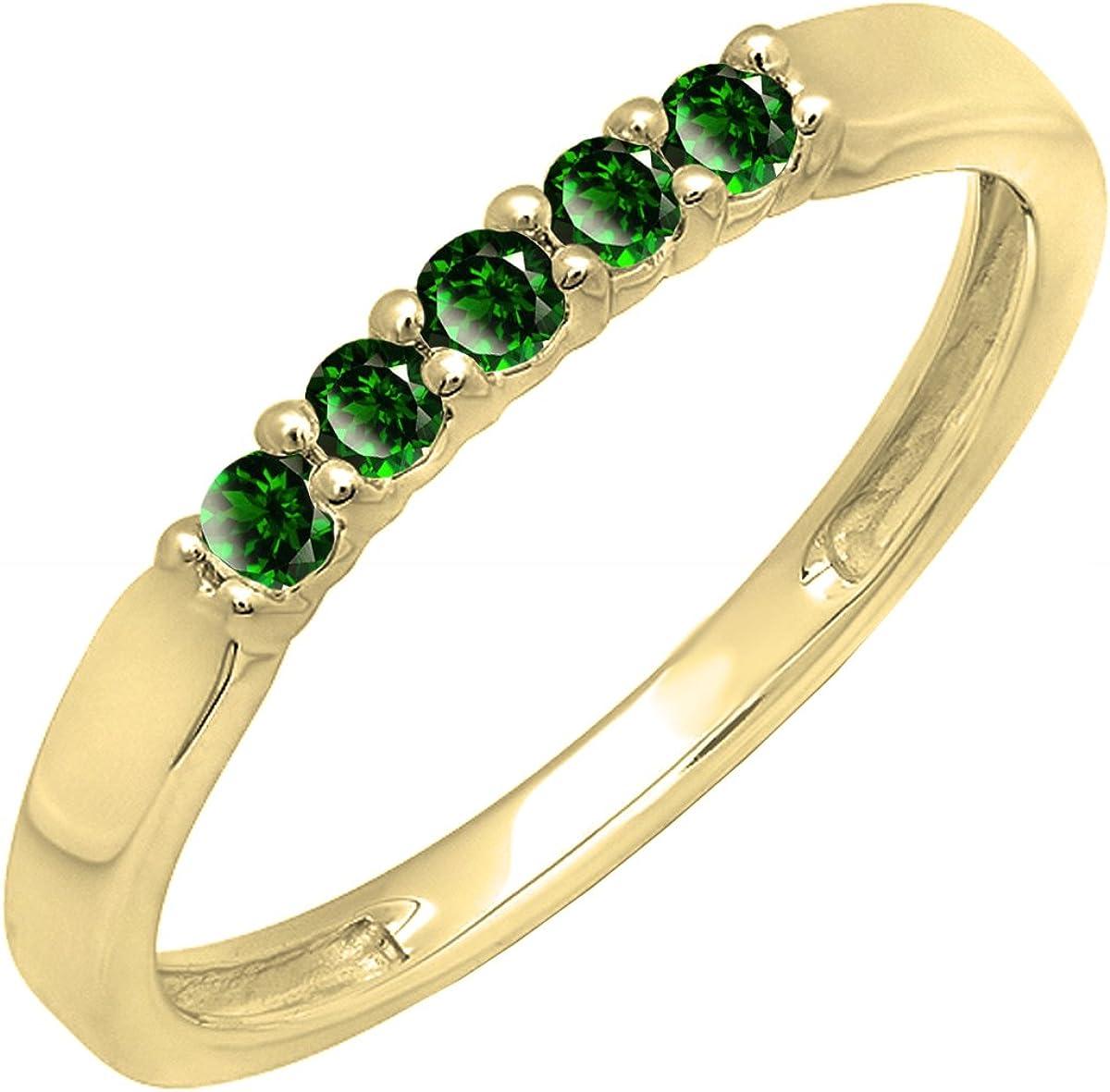 Dazzlingrock Collection 10K Round Lab Created Gemstone Ladies Anniversary Wedding Band Ring, Yellow Gold